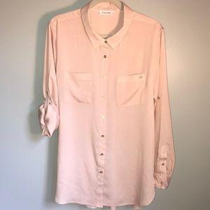 Blush Pink Calvin Klein Collared Blouse.  Sz L